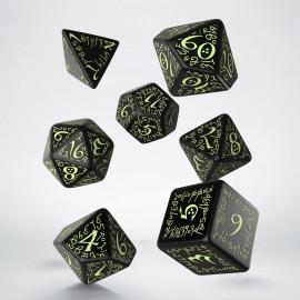 Kości RPG Elfickie Czarno-fosforyzujące (7)