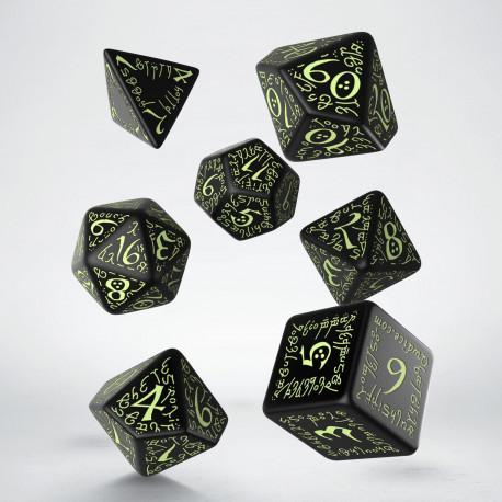 Elvish Black & glow-in-the-dark Dice Set (7)