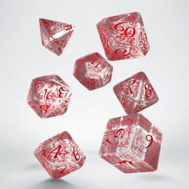 Kości RPG Elfickie Przejrzysto-czerwone (7)
