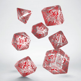Elvish Translucent & red Dice Set (7)