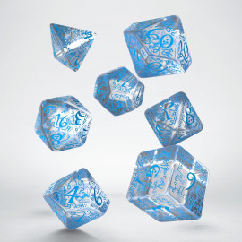 Elvish Translucent & blue Dice Set (7)
