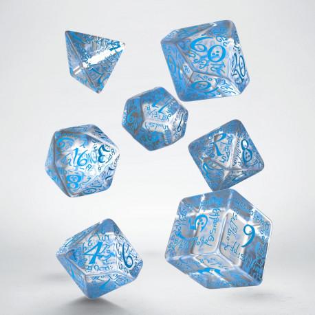 Kości RPG Elfickie Przejrzysto-niebieskie (7)