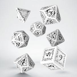 Elvish White & black Dice Set (7)