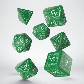 Elvish Green & white Dice Set (7)