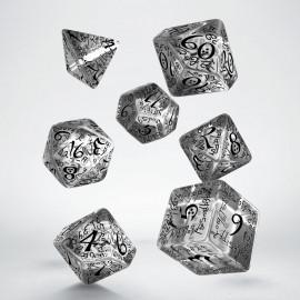 Kości RPG Elfickie Przejrzysto-czarne (7)