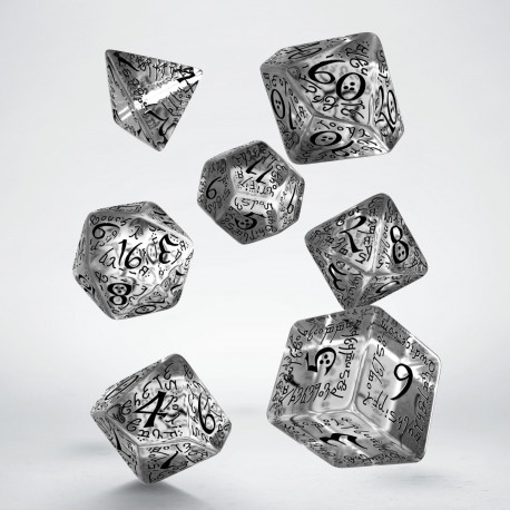 Elvish Translucent & black Dice Set (7)