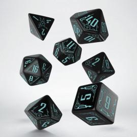 Kości RPG Galaktyczne Czarno-niebieskie (7)