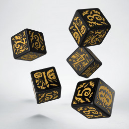 Halloween Black & orange D6 Dice + Dice Bag (5+1)