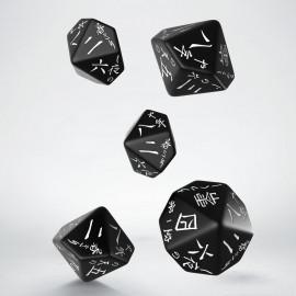 Japanese Black & white 5D10 Dice (5)