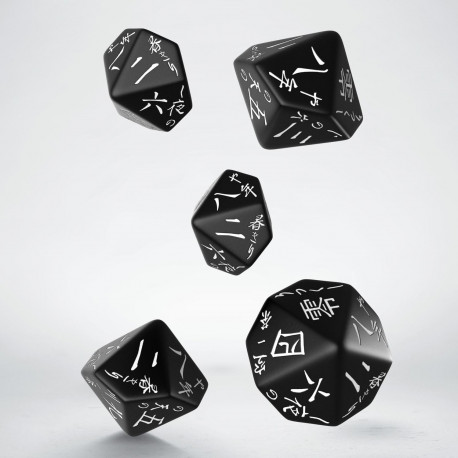 Japanese Black & white 5D10 Dice (5)