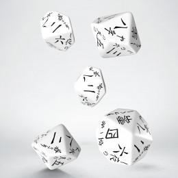 Japanese White & black 5D10 Dice (5)