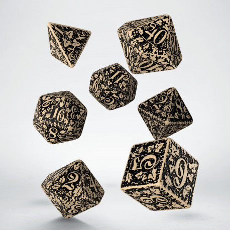 Forest 3D Beige & black Dice Set (7)