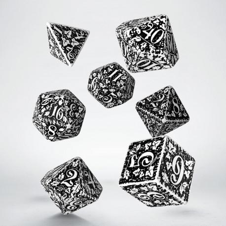 Kości RPG Leśne 3D Biało-czarne (7)