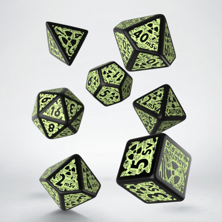 Nuke Revised Black & glow-in-the-dark Dice Set (7)