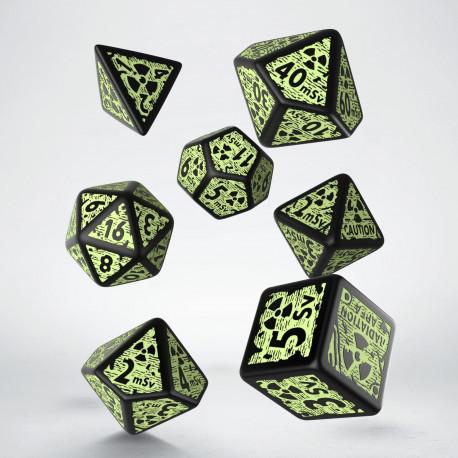 Kości RPG Nuke Revised 3D Czarno-fosforyzujące (7)