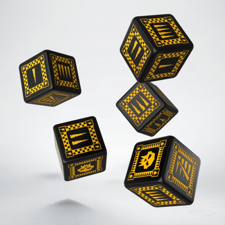 Orc Black & yellow 5D6 Dice (5)