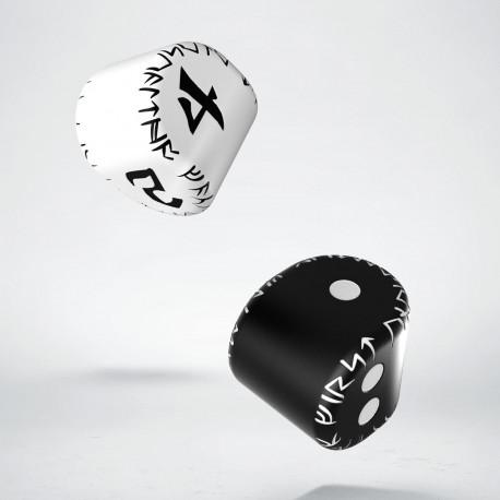 D2&D4 Runic Dice: 1x Black&white D2 + 1x White&black D4 (2)