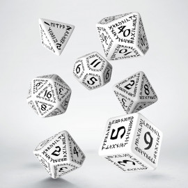 Runic White & black Dice Set (7)
