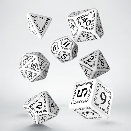 Kości RPG Runiczne Biało-czarne (7)