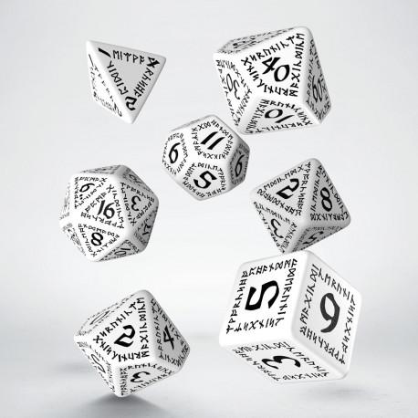 Runic White & black Dice Set (7)