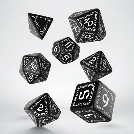 Kości RPG Runiczne Czarno-białe (7)