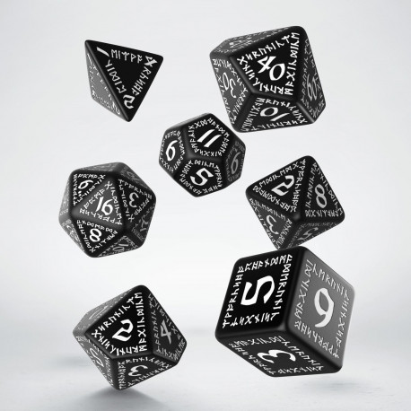 Runic Black & white Dice Set (7)