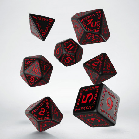 Kości RPG Runiczne Czarno-czerwone (7)