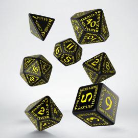 Kości RPG Runiczne Czarno-żółte (7)
