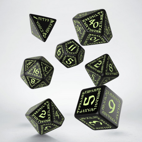 Kości RPG Runiczne Czarno-fosforyzujące (7)