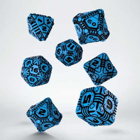 Tech Blue & black Dice Set (7)