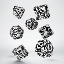 Tech White & black Dice Set (7)