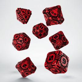 Kości RPG Tech Czerwono-czarne (7)