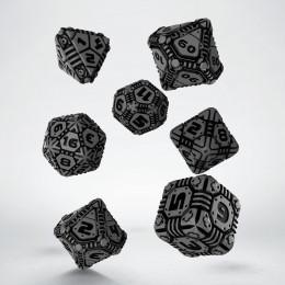 Kości RPG Tech Szaro-czarne (7)