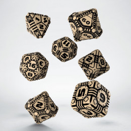 Tech Beige & black Dice Set (7)