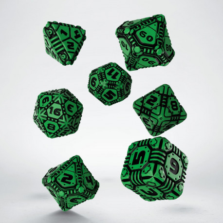 Tech Green & black Dice Set (7)
