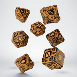 Kości RPG Tech Czarno-pomarańczowe (7)