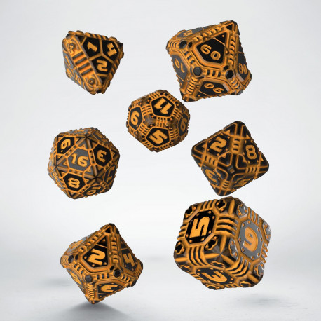 Tech Black & orange Dice Set (7)