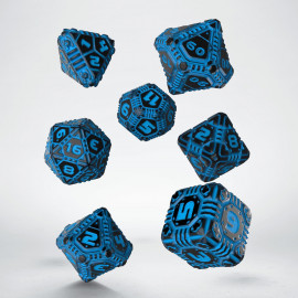 Tech Black & blue Dice Set (7)