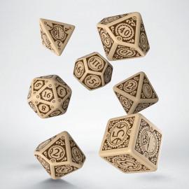 Kości RPG Steampunk Clockwork Beżowo-brązowe (7)