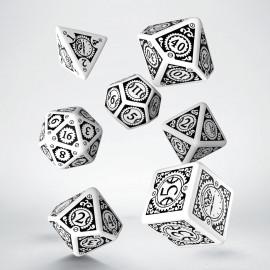Kości RPG Steampunk Clockwork Biało-czarne (7)