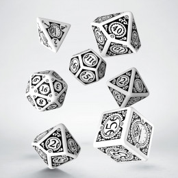 Steampunk Clockwork White & black Dice Set (7)