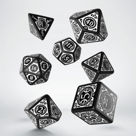 Steampunk Clockwork Black & White Dice Set (7)
