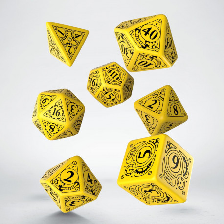 Kości RPG Steampunk Żółto-czarne (7)