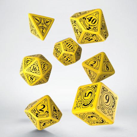 Steampunk Yellow & black Dice Set (7)