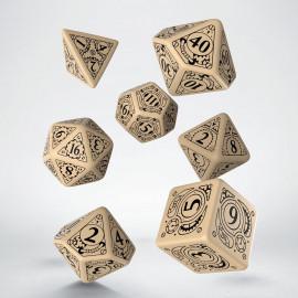 Kości RPG Steampunk Beżowo-czarne (7)