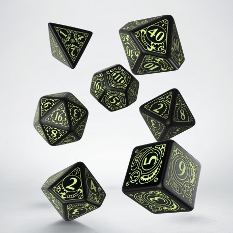 Steampunk Black & glow-in-the-dark Dice Set (7)