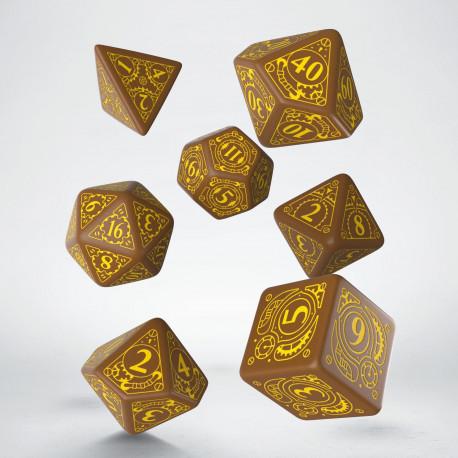 Kości RPG Steampunk Brązowo-żółte (7)