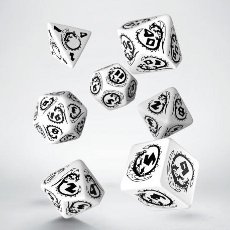 Kości RPG Smocze Biało-czarne (7)