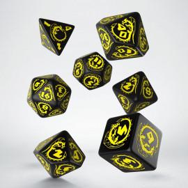 Kości RPG Smocze Czarno-żółte (7)