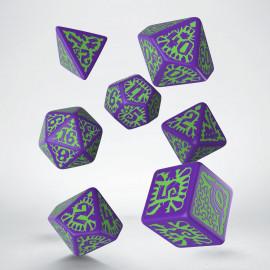 Kości RPG Pathfinder Goblin fioletowo-zielone (7)